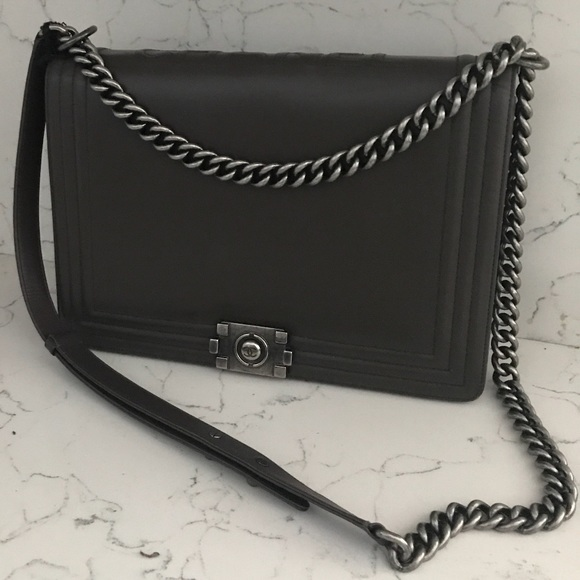 49c2a4050681 CHANEL Bags | Authentic Charcoal Reverso Large Boy Bag | Poshmark